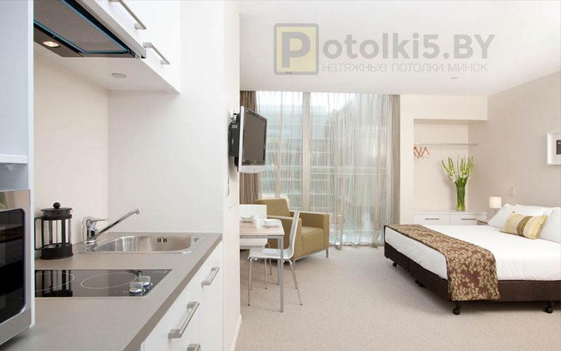Матовый натяжной потолок в квартиру-студию