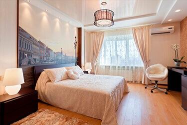 Дизайн натяжных потолков в спальне фото