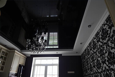 Чёрный цвет натяжного потолка в Минске