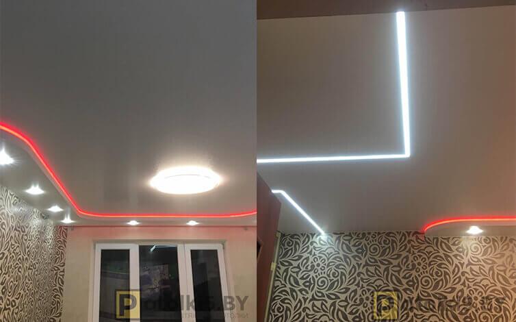 Двухуровневый потолок с подсветкой, парящими линиями и скрытым карнизом