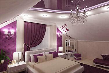 Фиолетовый натяжной потолок в Минске