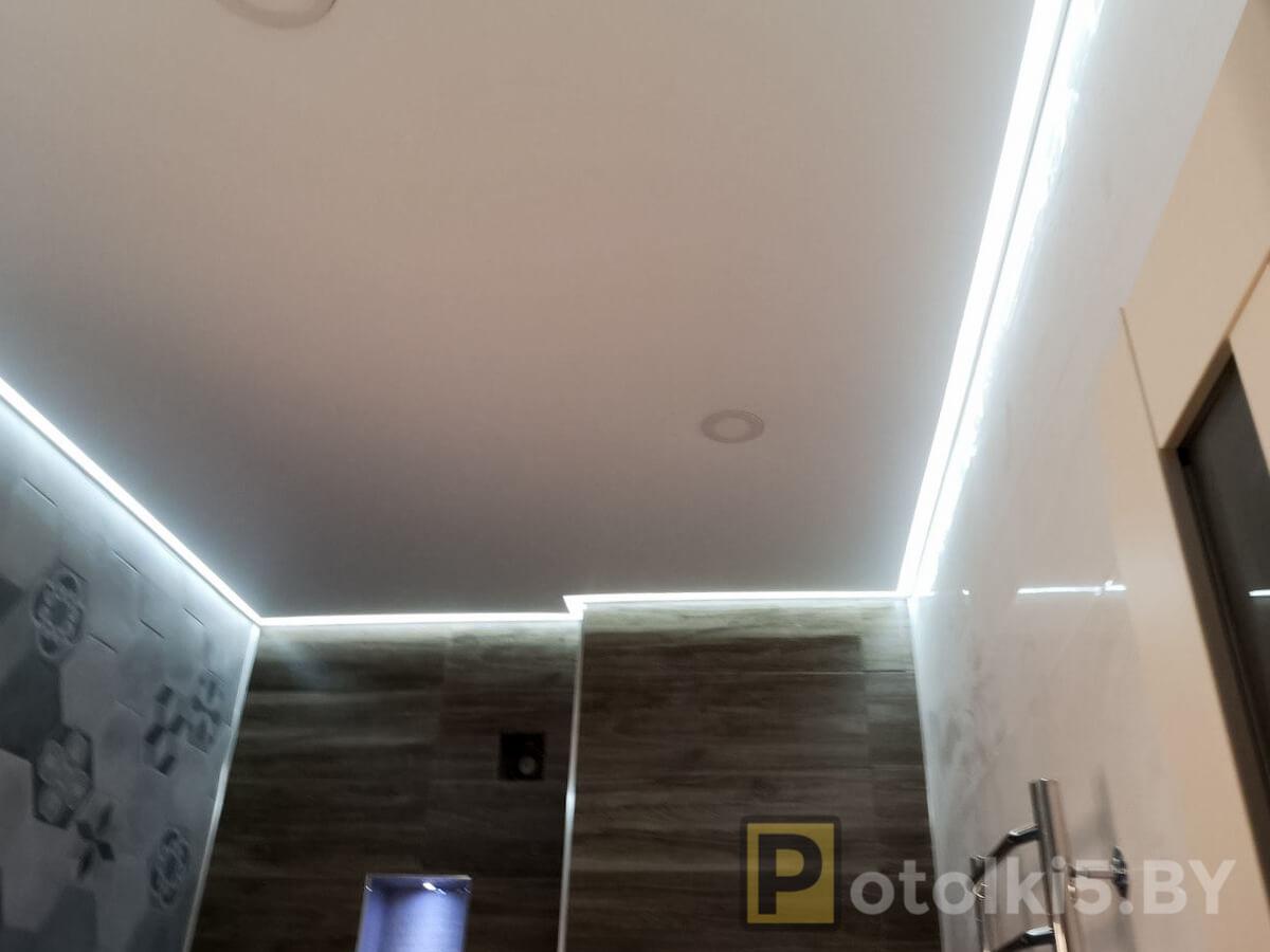 Готовый проект натяжного потолка - матовый натяжной потолок с контурной подсветкой