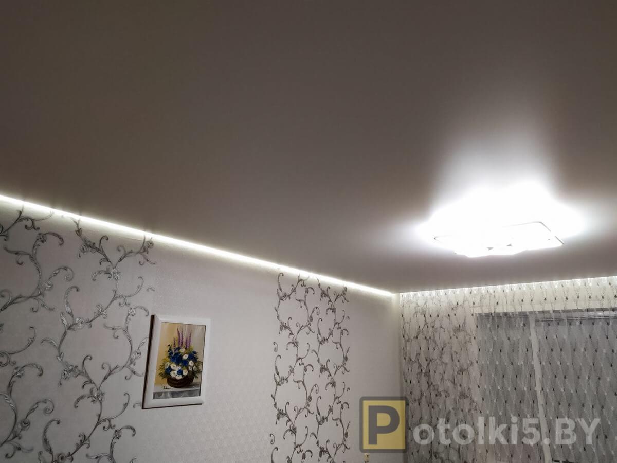 Готовый проект натяжного потолка - парящий потолок в зале со скрытым карнизом с подсветкой, фактура мат