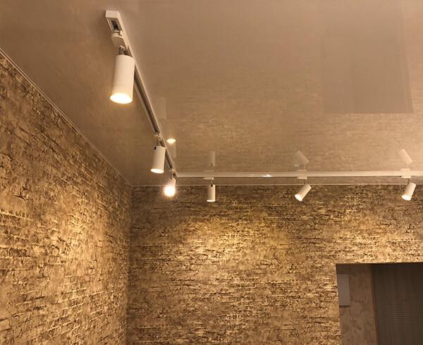Натяжные потолки с трековыми светильниками в Минске