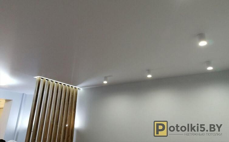 Матовый натяжной потолок с подсветкой декоративной перегородки в спальню