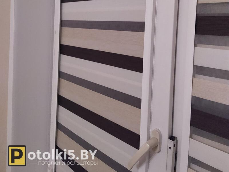 Готовый проект - рулонные шторы с тканью Зебра (светло-шоколадные)