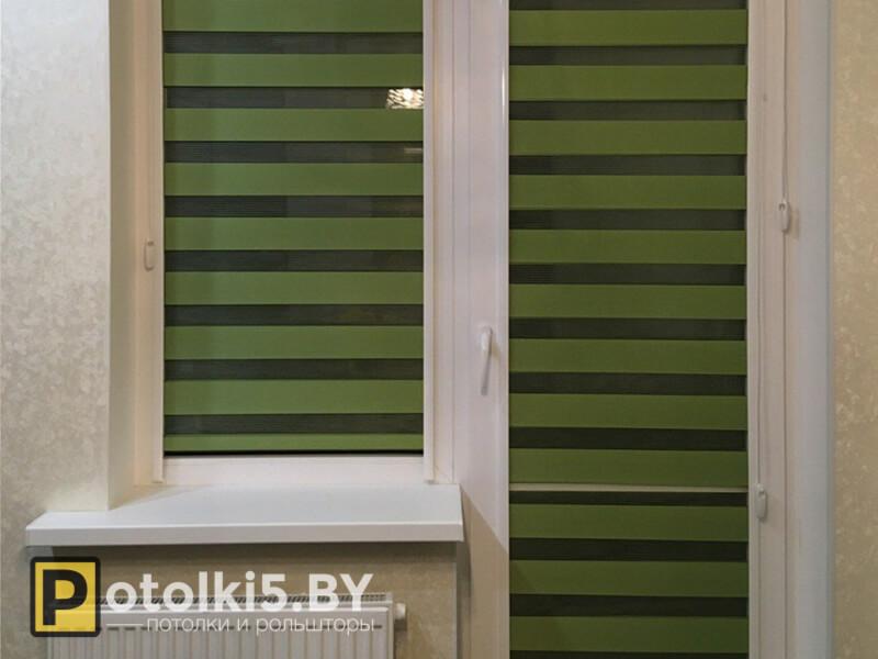 Готовый проект - рулонные шторы с тканью Зебра (зелёные)