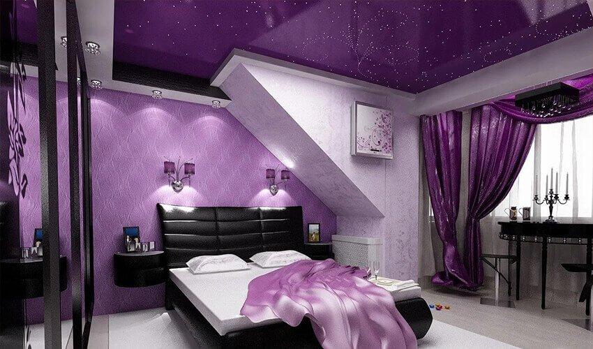 Фиолетовый натяжной потолок фон
