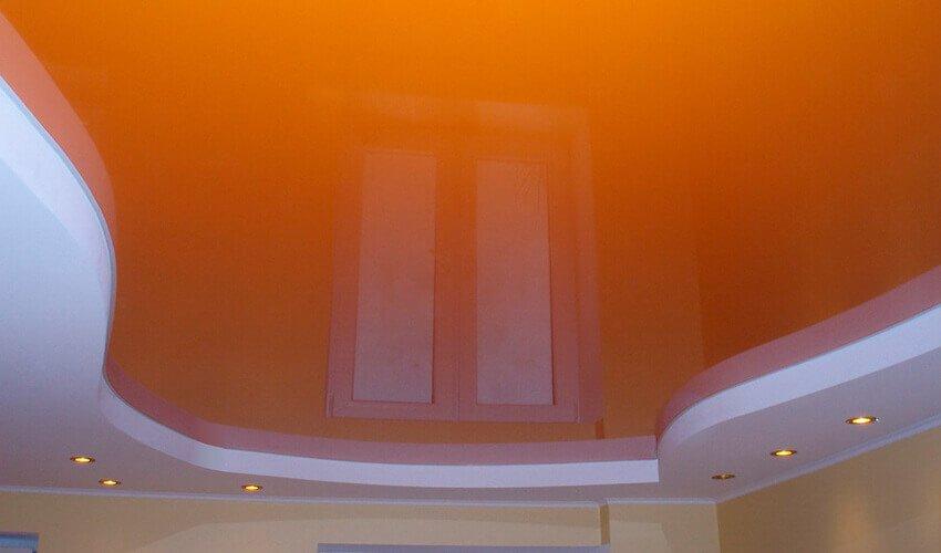 Оранжевый натяжной потолок фон